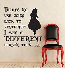 XL Alice In Wonderland Inspired I Was A Different Person Then Vinyl Wall Decal S