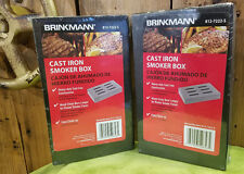 Lot of 2 Cast Iron BBQ Smoker Box for Wood Chips with Lid! Brinkmann SHIPS FREE!