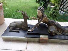 MENNEVILLE/ CIPRIANI-GRANDE Sculpture-Statue-femme/Gazelle-marbre-LADY-Art Déco