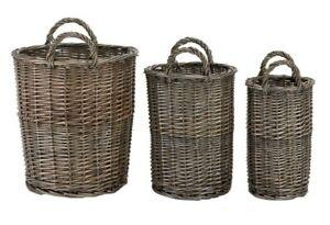 W and S Wickers and Straw Grey-Toned Wicker Storage Bin, Plain - S, M, L