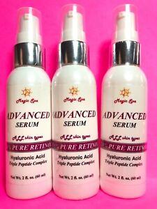 3*2oz 100% Pure HYALURONIC ACID Serum Wrinkle Filler Matrixyl Retinol Vitamin A