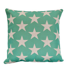 Aqua Stars Kids Nursery Cotton Linen Sofa Decor Cushion Cover PillowCase 45x45cm