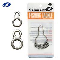 OCEAN CAT 20-100 Pcs Figure 8 Ring Stainless Steel Fishing Split Rings Snaps