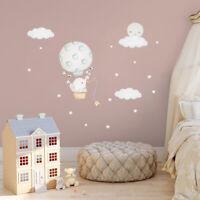 Baby Elephant Moon Star Cloud Wall Sticker Nursery Bedroom Cartoon Wall Decals