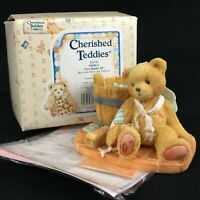 VTG Enesco Cherished Teddies Figurine Joshua Boy Bear Wash Tub 950556 Love 1991