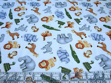 3 Yards Cotton Fabric - Qt Fabrics Jungle Buddies Safari Animals Toss Cream