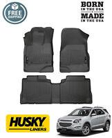 Husky Weatherbeater Front and 2nd Row Floor Mats 10-17 Chevrolet Equinox Black