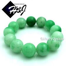 Natural Jadeite Green 16mm Ball Bead Stretch JADE Bracelet*LG/Free Box
