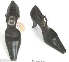 CHRISTIAN DIOR scarpe décolleté SPOSA PELLE Marrone scuro 39.5 Eccell.