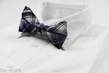 MENS BLACK WHITE PURPLE COTTON BOW TIE PRE-TIED MEN'S BOWTIE WEDDING FORMAL TIES