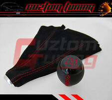 FOR SUBARU IMPREZA LEGACY BLK LEATHER RED STITCHING SHIFT GEAR KNOB + SUEDE BOOT