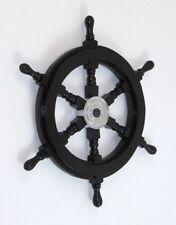 "18"" Black Ship Wheel ~ Wood / Chrome ~ Nautical Maritime Wall Decor"