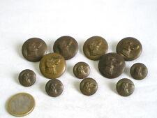 6 GROS+6 PETITS BOUTONS DE CHASSE ANCIENS TETE DE CHIEN EN LAITON