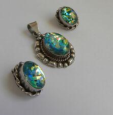 Vtg. Modernist Taxco Mexico Sterling 925 Fire Opal Art Glass Pendant Earring Set