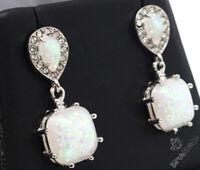 Large 2CT White Fire Opal Dangle Earrings Women Wedding Jewelry Gift 925 Silver
