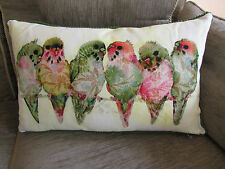 Designer Cotton BUDGIE Budgerigar Bird Cushion & Feather Pad Green/Beige NWT