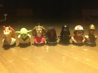 1999 **Rare** Star Wars Lucas Film Phantom Menace 1.5 Inch Head Busts Vader Yoda