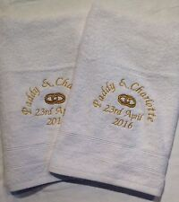 Personalised 2 piece egyptian cotton bath towel set anniversary wedding