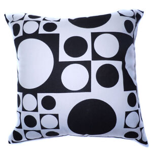 AL01a Black White Square Circle Dot Cotton Canvas Cushion Cover/Pillow Case Size