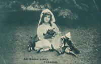 VINTAGE RICH YOUNG GIRL with POSSUMS POSTCARD - Australian Series - USED