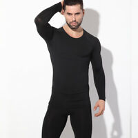 Men's Fleece Lined Thermal Underwear Set Motorcycle Skiing Base Layer Long Johns