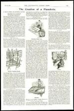 1896 Antique Print  -  PIANOFORTE Creation Veneering Stringing Tuning  (93)