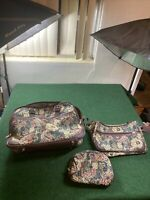 3 Bags Jaguar Floral Tapestry Vintage Luggage Small Cosmetic Make-up JC Penney