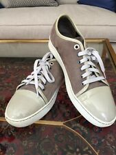 LANVIN Gray Suede Calfskin Lowtop Designer Sneakers EU 45 US 10.5
