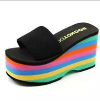 Fashion Women Rainbow Platform Slippers Summer Sandals Wedge High Heels Shoes Sz