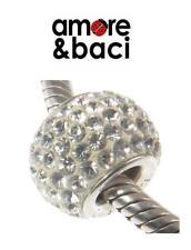 AMORE & BACI 925 silver & Swarovski crystal WHITE SHAMBALLA charm bead RRP £36