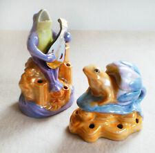 2 Vintage 50s Flower Arranging Frogs HandPainted Japan Lusterware Frog Figurines