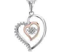 Love Herzkette Anhänger Halskette 925 Silber Rose Vergoldet Weihnachtsgeschenke