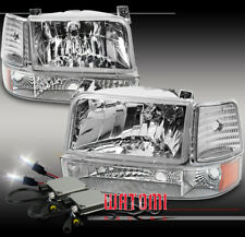 92-96 FORD BRONCO F150/250/350 CHROME CRYSTAL HEADLIGHT+BUMPER+CORNER+10000K HID