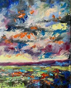 Sunset 16x20 Landscape Expressionism texture Oil Painting Clouds