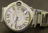 Cartier Ballon Bleu 3001 amazing SS 42mm automatic men's watch w/ box & papers