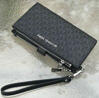 NWT Michael Kors BLACK MK Signature  Jet Set Double Zip Phone Wallet Wristlet