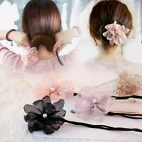 New Women Pearl Flower Hair Bun Maker Donut Twist Tool Headband Hair Accessories