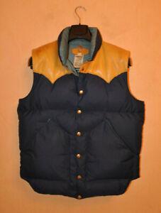 Rocky Mountain Featherbed Men's Blue Down Snap Vest Leather Yoke Size 44 Vintage