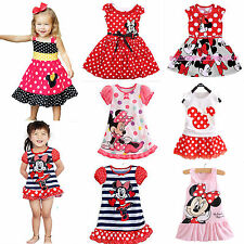 Girls Kids Minnie Mouse Polka Dot Skirt Party Mini Dress Summer Cartoon Outfits
