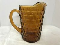 Vintage Amber Brown Indiana Glass Cubist Colony Whitehall Pitcher w/Ice Lip