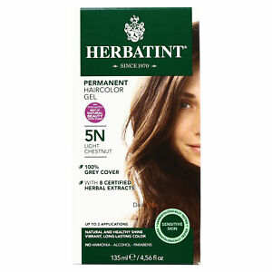 Herbatint Permanent Herbal Hair Color Gel, 5N Light Chestnut, 4.56 Ounce