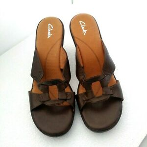 New CLARKS Women's Size 11 Medium Brown Leather Comfort Sandals
