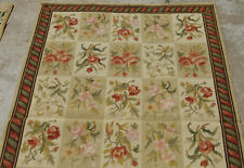 2.5' X 4' French Countryside Needlepoint Floral Handmade Rug Vintage Color Beige