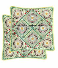 """2 PC Embroidery Cushion Cover Indian Cotton Pillow Case Cover Handmade Throw 16"""""""
