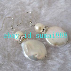 Real 12-13mm White Baroque Coin Pearl & 7-8mm White Akoya Pearl Earrings AAA+
