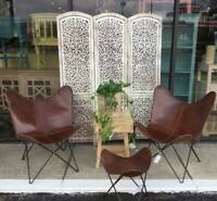 2PCS Vintage Classic Brown Leather Butterfly Chair Home Decor Living Room Chair