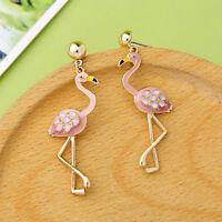 Pink Enamel Flamingo Women Elegant Fashion Earrings Drop Dangle Crystal