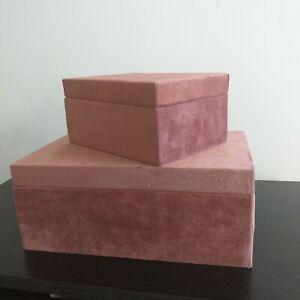 Set Of  2 Velvet Jewellery Boxes Make up Organizer  Storage Trinket Gift Boxes