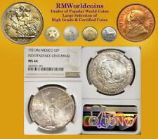 Mexico 1921 2 Peso, Rare Superb Gem, NGC 64 PQ+, Full Strike, Full Luster Fields