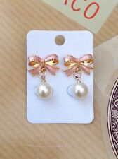 FREE GIFT BAG Gold Plated Pink Bow Simulated Pearl Drop Earrings Jewellery Xmas